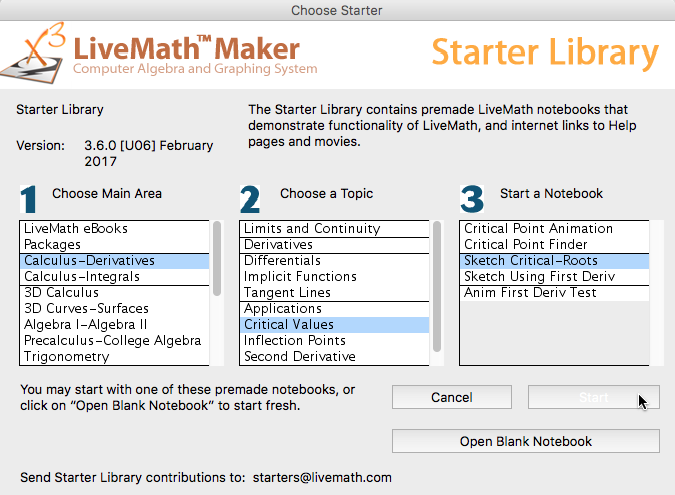 Livemath Starter Library Notebooks